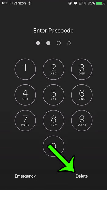 delete or cancel current passcode entry