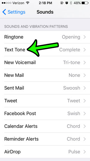 use a different sound for new text messages