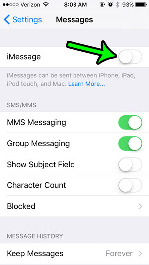 turn off imessage on iphone 5