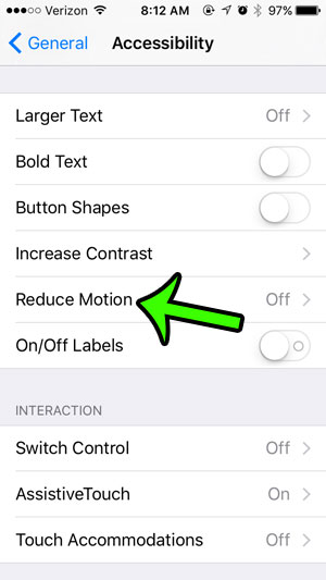 open the reduce motion menu