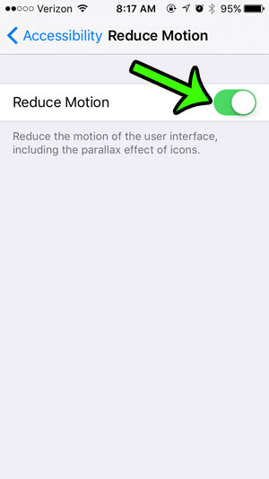 how to enable the reduce motion setting on an iPhone 5