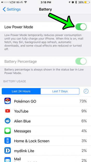 how to enable low power mode on an iPhone 7